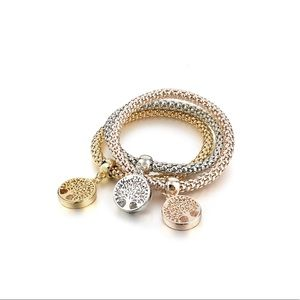 Jewelry - 3Pcs Gold Silver Rose Gold Plated Charm Bracelet